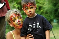 Children with face paintings