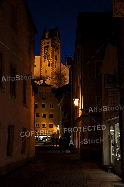 Füssen by night - Old town in Bavaria, Germany
