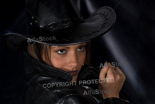 Girl with black background and black clothes