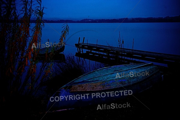 Hopfensee by Night, Hopfen am See, in Bavaria, Germany
