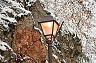 Old style street light with lamps near the Hohenschwangau