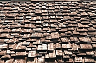 Old wood tiled roof