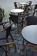 Tables and chairs in a coffee shop