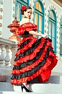 Woman in red spanish dress