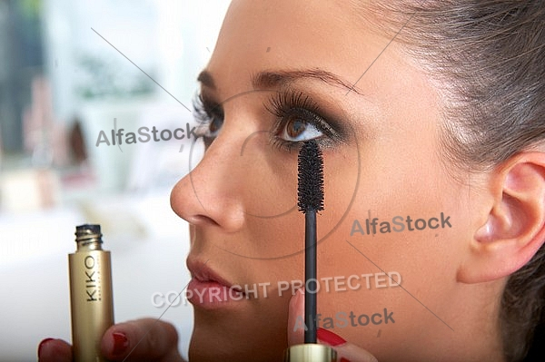Young girl in a makeup studio